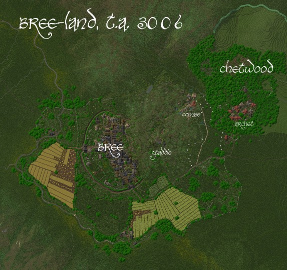 An overview of Bree-land. Keep in mind that Combe and Chetwood are not complete.