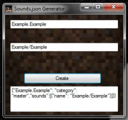 Sounds.Json Generator Minecraft Mod