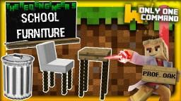 School furniture with only one command block   Blackboards, hangers & the almighty Professor Oak