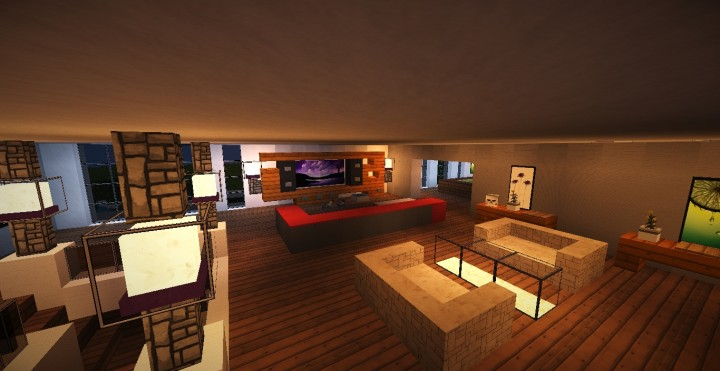 Modern house 4 minecraft project for Living room upstairs