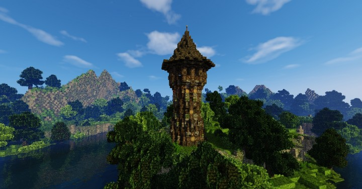 One of the towers in a minecraft world