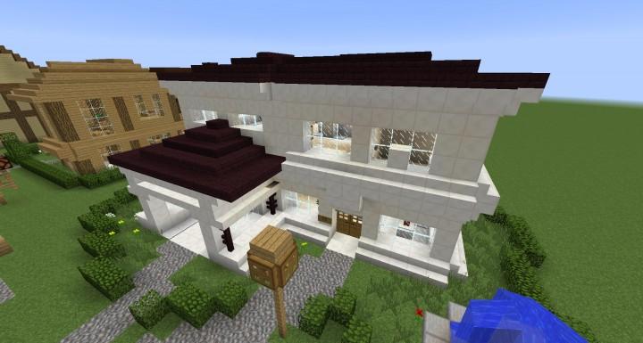 Modern quartz house minecraft House modern
