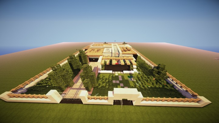 Wood quartz modern house 1 8 minecraft project for Minecraft modern house download 1 8