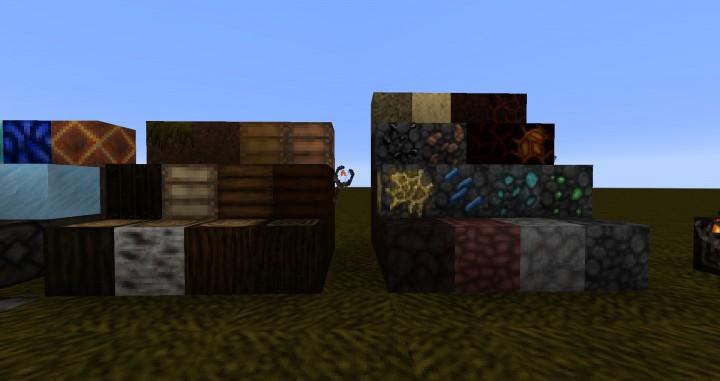 Rocks, ores, wood and stuff