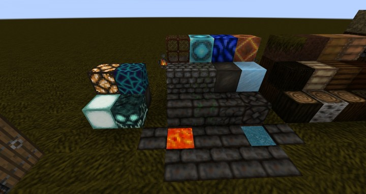 Stone sorts, lava, water, and light sources