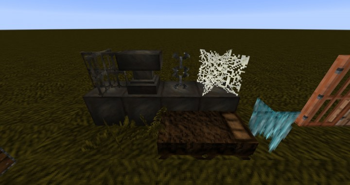 Anvil, web, iron bars, and a special glass-pane chain