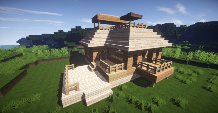Beautiful Wooden House In The Forest Minecraft Map
