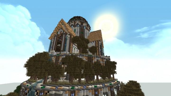 Sun rising over an ancient citadel