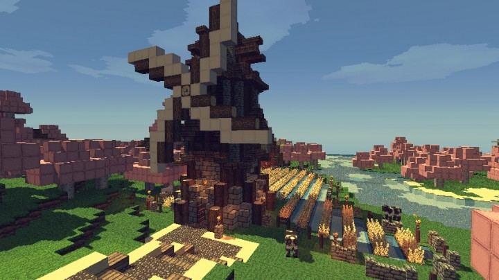 Windmill with Wheat field Minecraft Map
