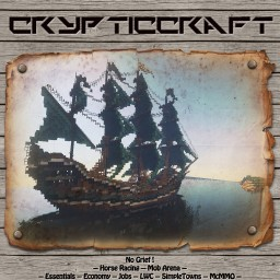 CrypticCraft ~ 1.12.2 ~ Economy ~ Survival ~ No Whitelist ~ No Grief/No Raid ~ 24/7 ~ SimpleTowns ~ mcMMO ~ Auto Ranks ~ Jobs ~ LWC ~ ChestShops ~ Mob/PvPArena ~ Spleef ~ Nice Community Minecraft Server