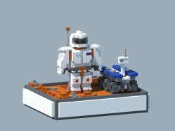 Two friends on Mars. Minecraft