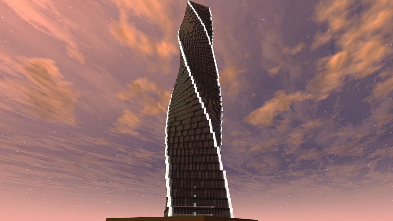 180 degree twisting tower minecraft project for 180 degrees salon dubai