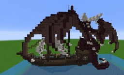 Netherbrick dragon on ship Minecraft Project