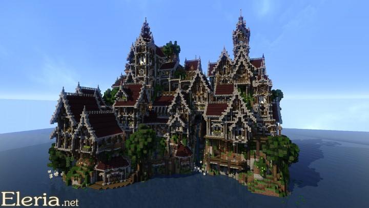 マインクラフト建築 赤い屋根の城
