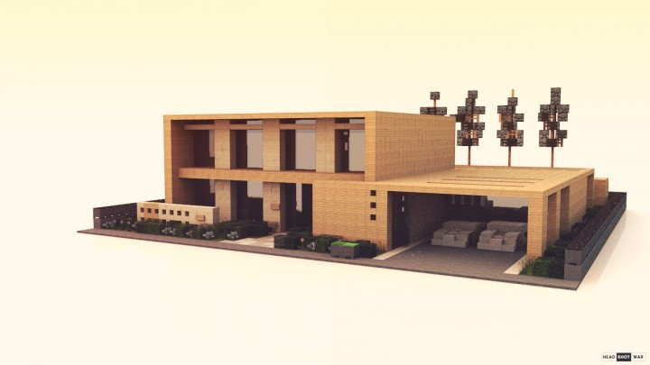 Collab simple modern wooden house minecraft project for Simple modern wood house