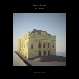 "Very realistic rebuild of the ""Théâtre Molière"" And 3D printing! Minecraft Map & Project"