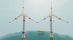 Electric Windmill Farm In Ocean Prodcuing Green Energy [+DOWNLOAD] Minecraft Map & Project