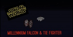 STAR WARS- Millennium Falcon & TIE Fighter Minecraft Map & Project