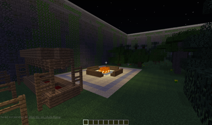 Campfire and Bunks Nighttime
