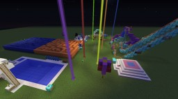 Party! (Already set-up party) Activities include a roller coaster, trampoline, maze, pool, cake and tables, and snow playground Minecraft Map & Project