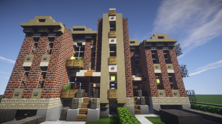 1920s brick duplex with interior minecraft project for Duplex project