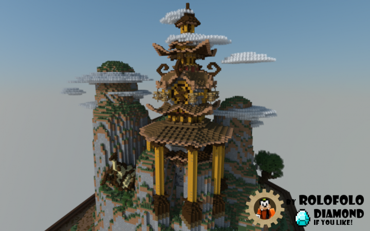 Oriental Fantasy diorama back with small dragon nest