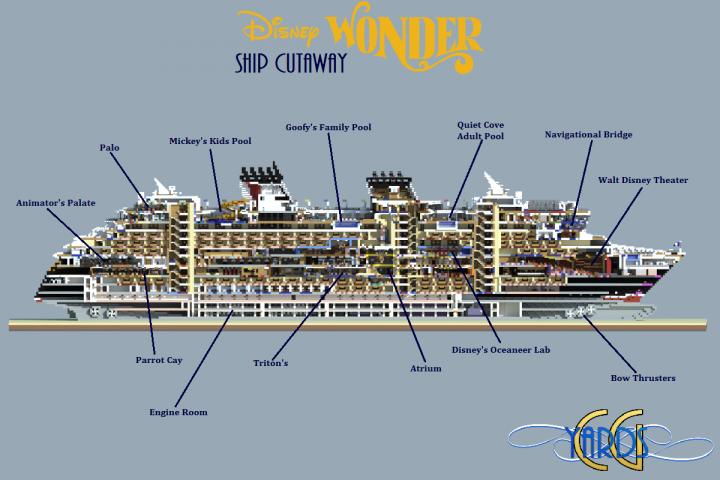 Cutaway of the Disney Wonder