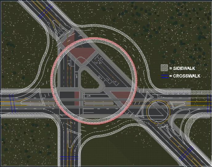 Road before we put in roundabout, with autocad overlay