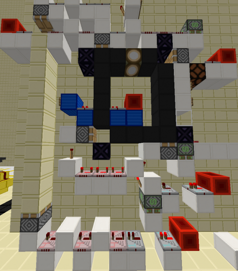 Example of a 1wide lock system, and with one screenshot you can see every repeater setting and sticky piston! no guesswork.