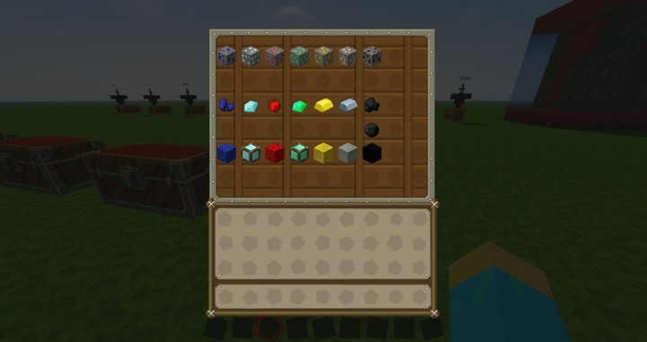 all ingot, diamont, gold, iron and all ore