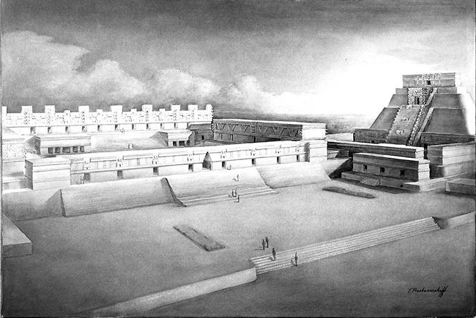 Nunnery Quadrangle and Pyramid of the Magician. Reconstruction drawing by Tatiana Proskouriakoff