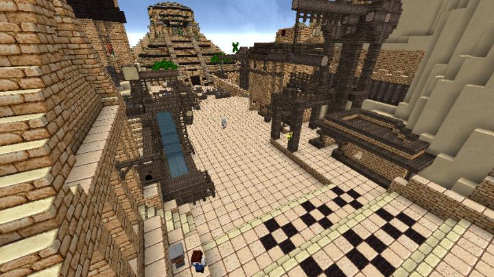 Bank, siegeworkship and ziggurat in the distance.