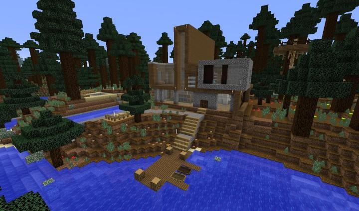 Casa moderna modern house 1 9 minecraft project for Minecraft casa moderna keralis
