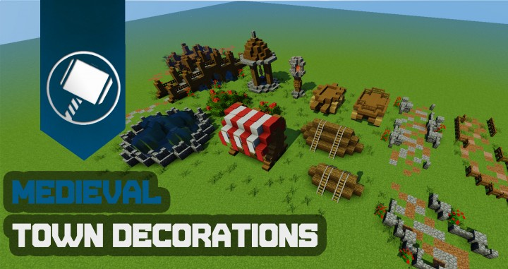 Medieval town decorations tutorial minecraft project for Decoration maison minecraft