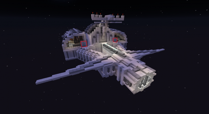 You can enter the ship through the highlighted airlocks!