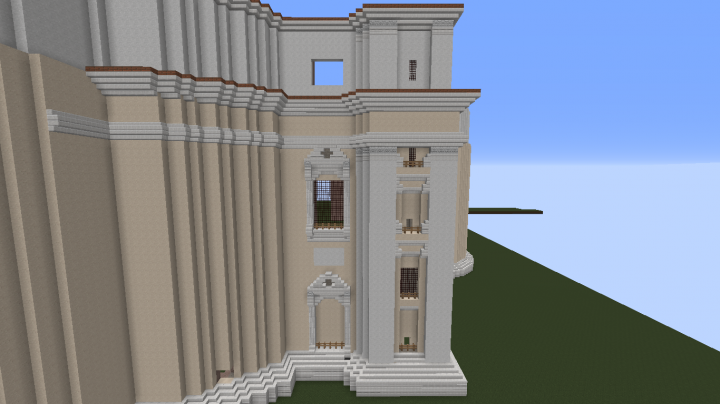 NEW version. Currently working on the general shape of the Basilicas facade. This picture shows some of the detailing roughly how it will look like when finished.
