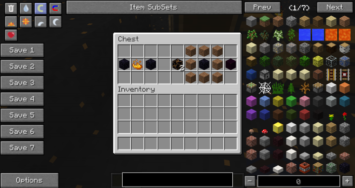The recipe for the portal frame block and the recipe for obsidian dirt.
