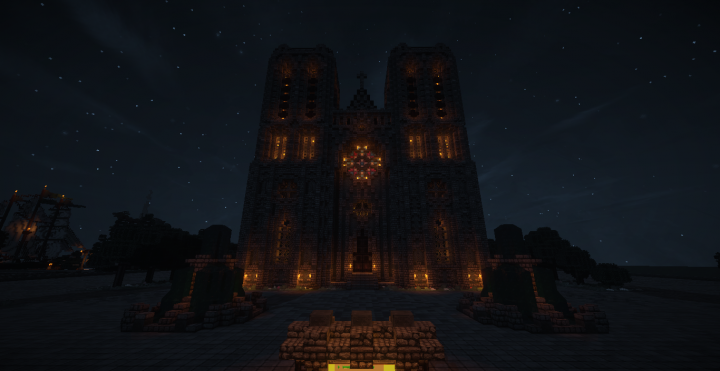 Cathedral front, night