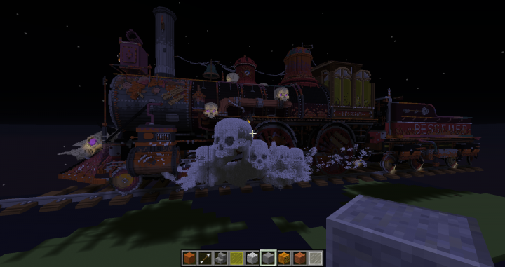 The spooky train during the construction of the map