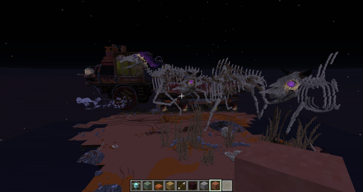 Running bison and horse skeletons