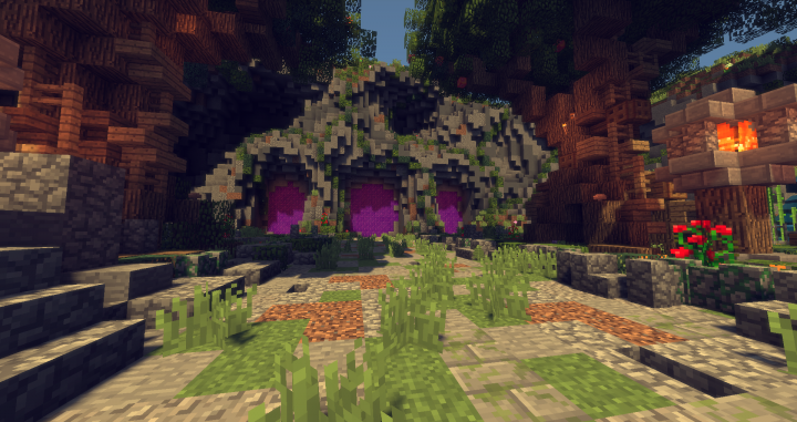 Lobby 3 portal medieval mountain tree cave for 3 portals