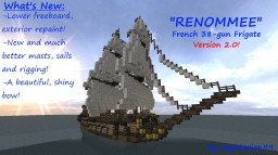 "38-gun Frigate ""Renommee"" Minecraft Map & Project"