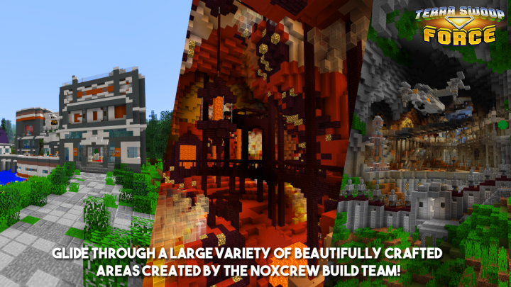 Glide through a large variety of beautifully crafted areas created by the Noxcrew Build Team!