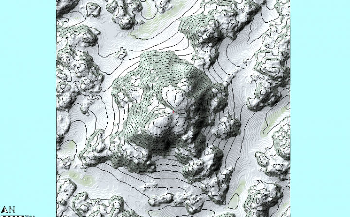 We load the heightmap in to World Painter, and add cliffs on parts  55, and snow  55.