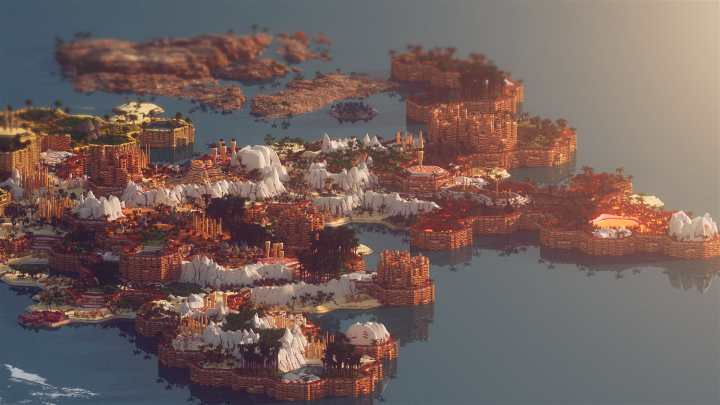 It also has deserts, floating islands, wastelands, jungles and crystal savannas.