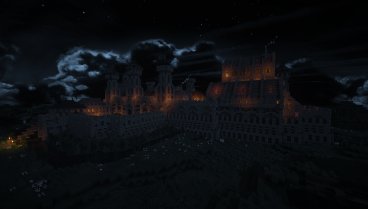 The Castle of the Order at night