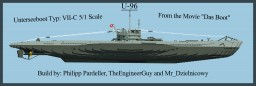 German Submarine U-96 Type: VII-C 5/1 Scale Full Interior Minecraft Map & Project