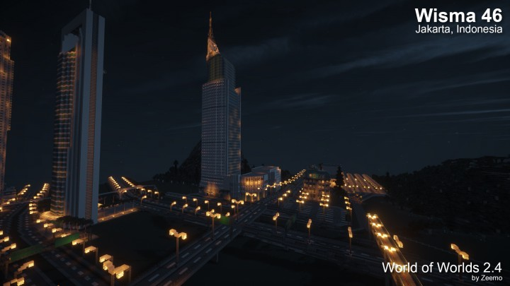 Wisma 46 building by night