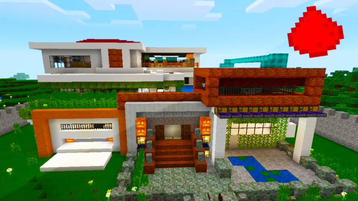 Mcpe modern redstone house minecraft blog for Minecraft modernes redstone haus download