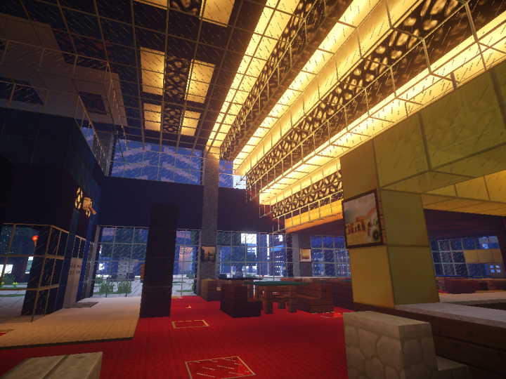 A restaurant in the lobby of building 5. In the background tower 1.